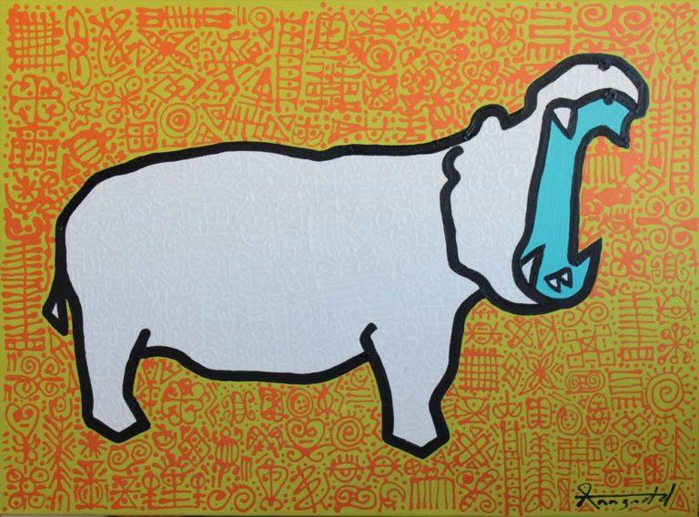 Hippo by Ann Gadd lime green