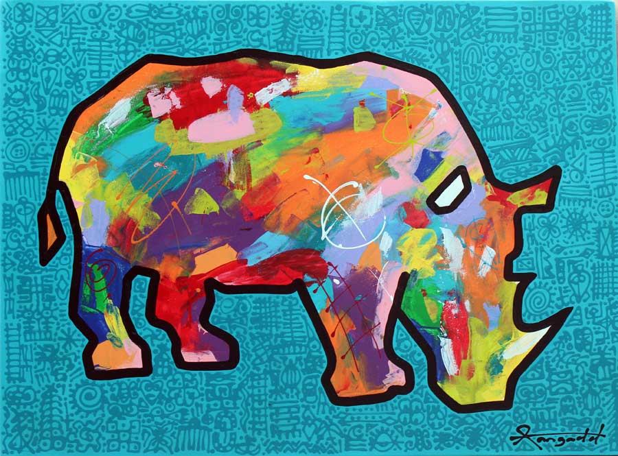 Available Art Rhino painting art by Ann Gadd Turquoise