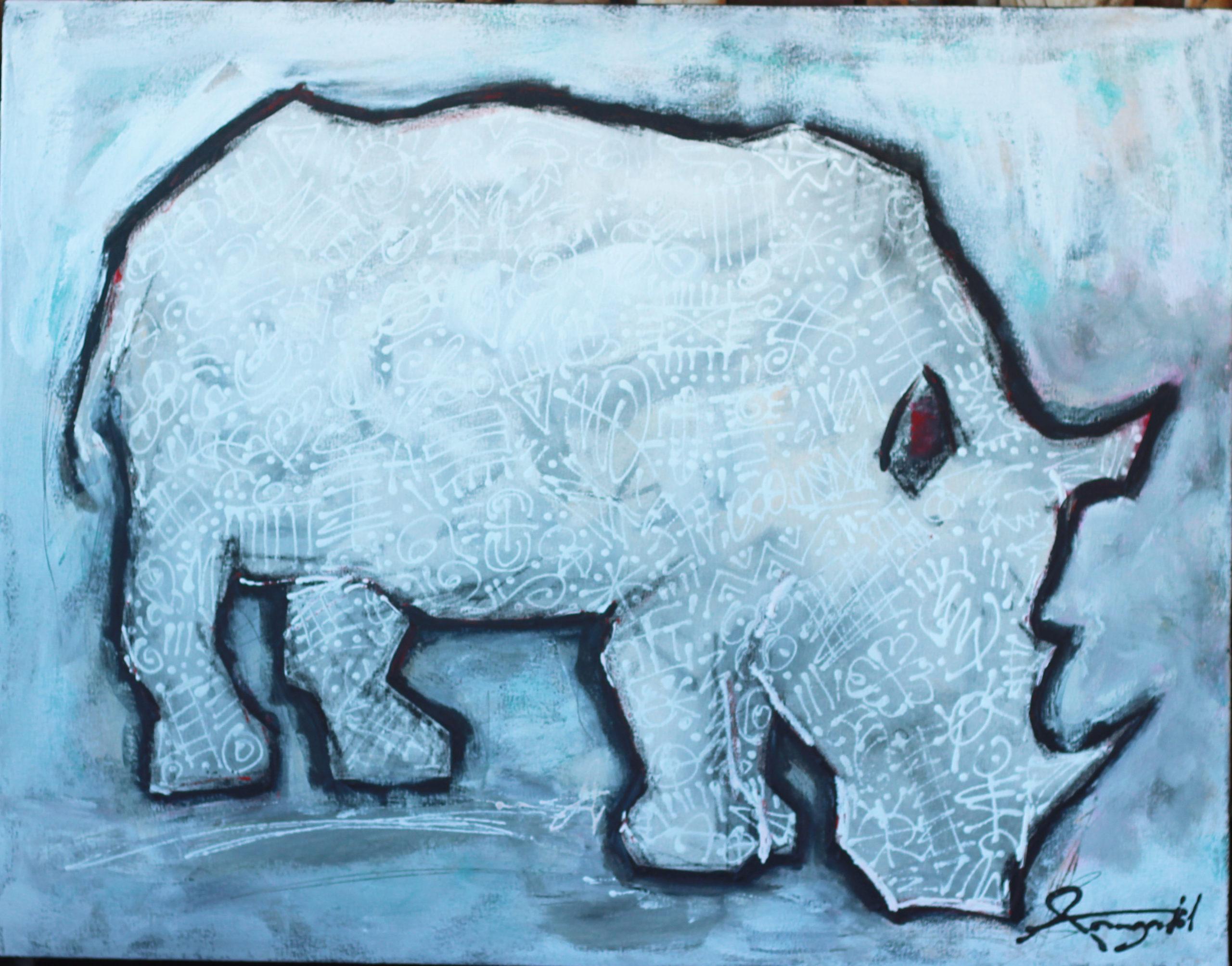 Ann Gadd African Wildlife Art Black and white rhino