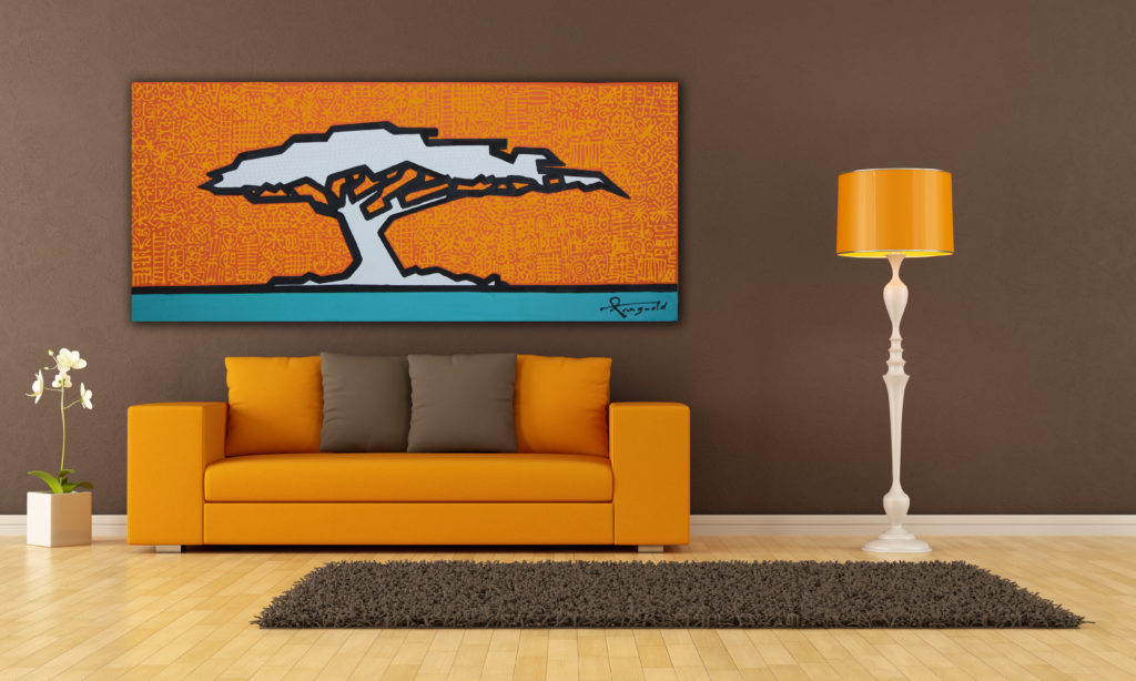orange acacia tree painting by Ann Gadd