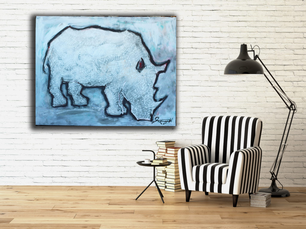 Art by Ann Gadd black and white rhino